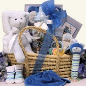 Baby's Essentials Baby Gift Basket ~ Baby Boy Blue