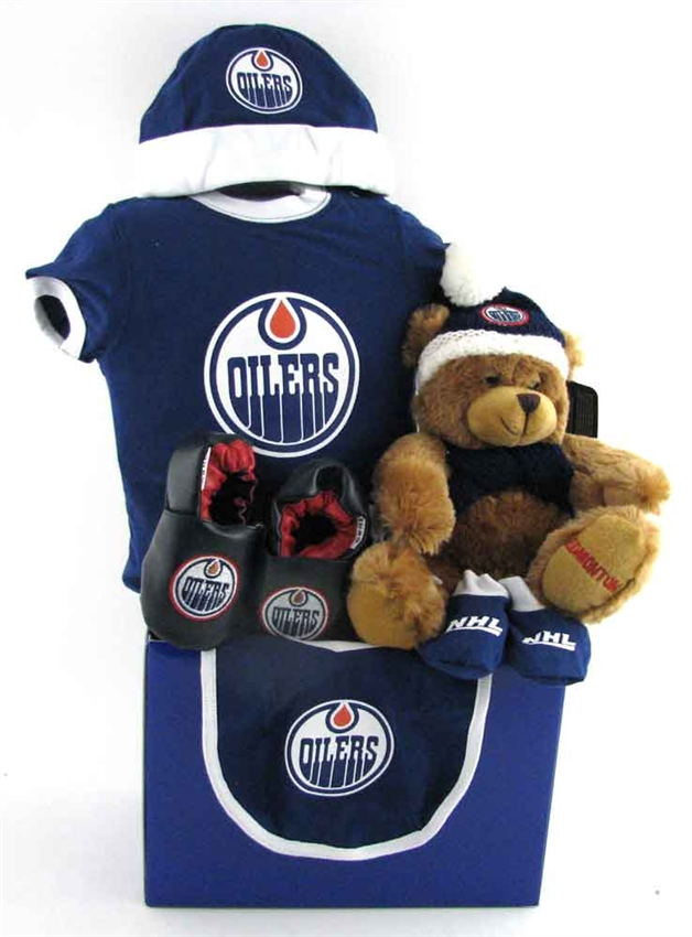 Edmonton Oilers Bear Themed Basket