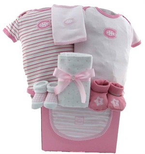 Montreal Canadiens Girly Hockey Team Themed Baby Girls Gift Basket